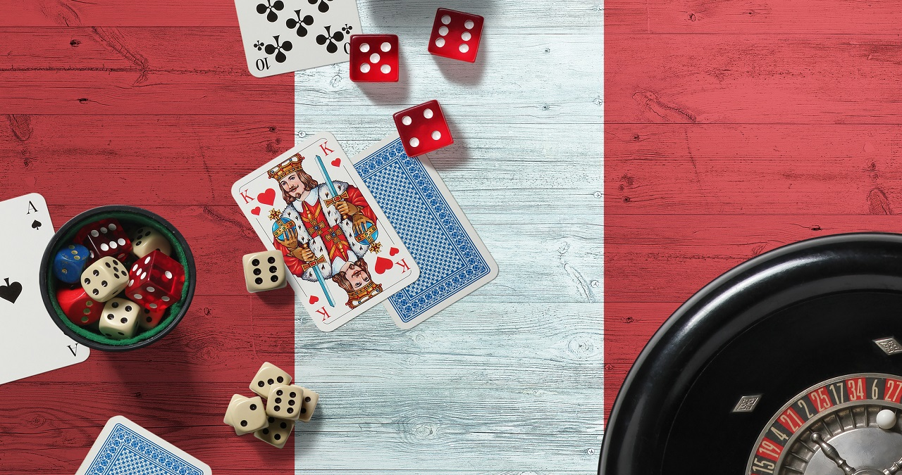 Peru casino theme. Aces in poker game, cards and chips on red table with national wooden flag background. Gambling and betting.
